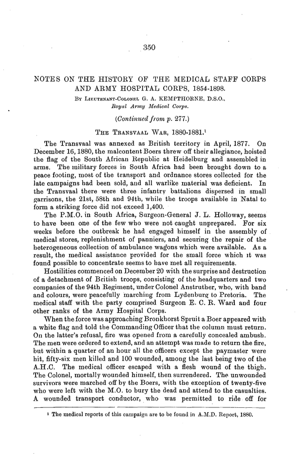 Notes on the History of the Medical Staff Corps and Army Hospital