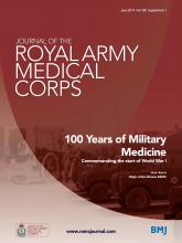 Journal of the Royal Army Medical Corps: 160 (Suppl 1)