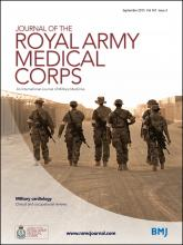 Journal of the Royal Army Medical Corps: 161 (3)